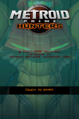 'Metroid Prime Hunters' title screen