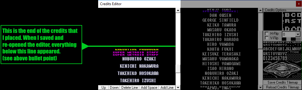 An example of credits where the vanilla credits spontaneously appeared at the bottom when saving