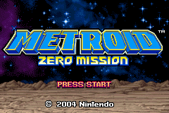 'Metroid Zero Mission' title screen